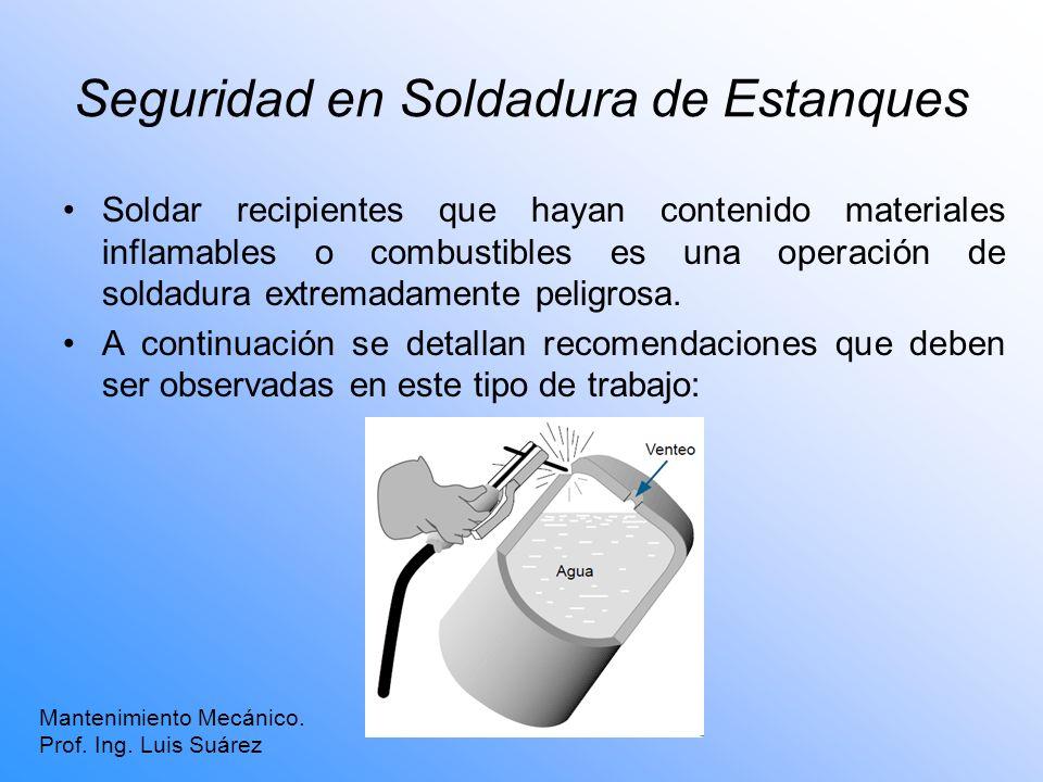 Seguridad en Soldadura de Estanques Soldar recipientes que hayan contenido materiales inflamables o combustibles es una operación de soldadura extrema