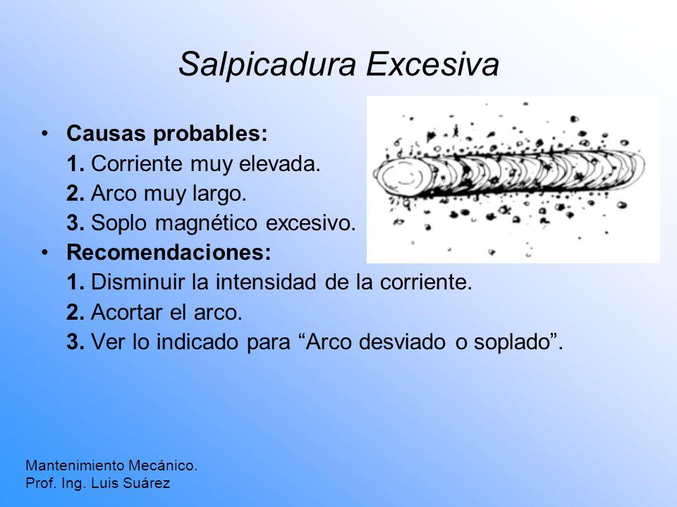 Salpicadura Excesiva Mantenimiento Mecánico. Prof. Ing. Luis Suárez Causas probables: 1. Corriente muy elevada. 2. Arco muy largo. 3. Soplo magnético