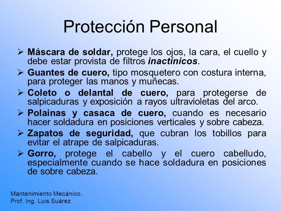 Protección Personal Máscara de soldar, protege los ojos, la cara, el cuello y debe estar provista de filtros inactínicos. Guantes de cuero, tipo mosqu