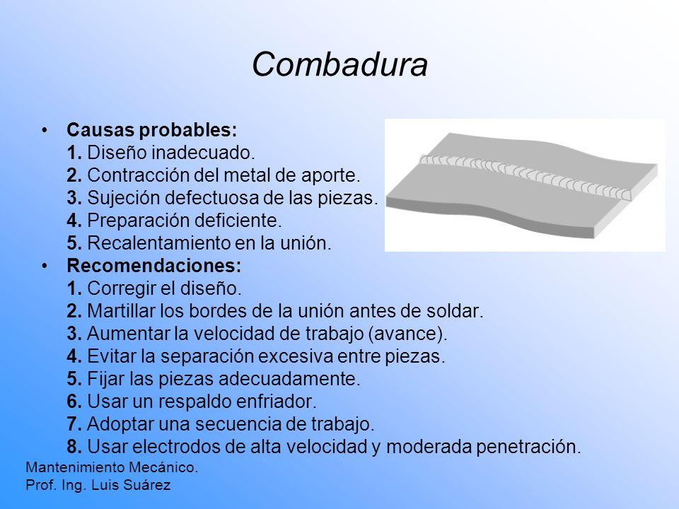 Combadura Mantenimiento Mecánico. Prof. Ing. Luis Suárez Causas probables: 1. Diseño inadecuado. 2. Contracción del metal de aporte. 3. Sujeción defec