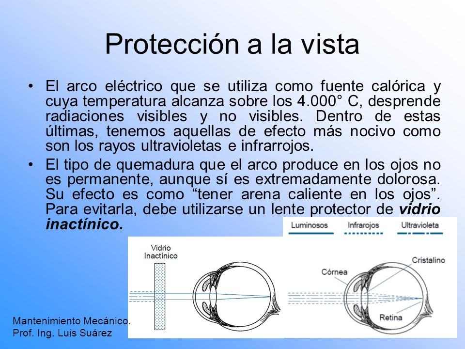 Protección a la vista El arco eléctrico que se utiliza como fuente calórica y cuya temperatura alcanza sobre los 4.000° C, desprende radiaciones visib