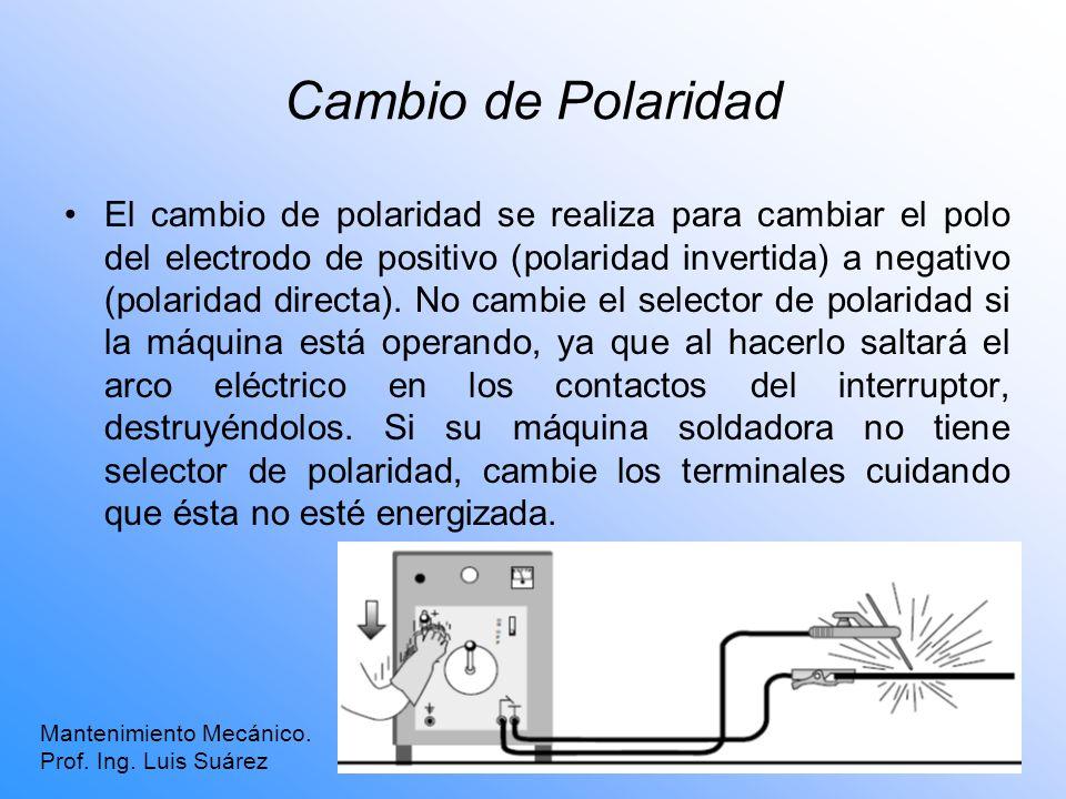 Cambio de Polaridad El cambio de polaridad se realiza para cambiar el polo del electrodo de positivo (polaridad invertida) a negativo (polaridad direc