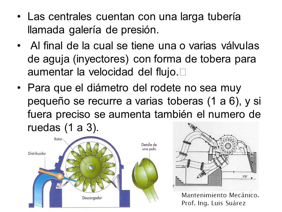 Mantenimiento Mecánico. Prof. Ing. Luis Suárez Las centrales cuentan con una larga tubería llamada galería de presión. Al final de la cual se tiene un
