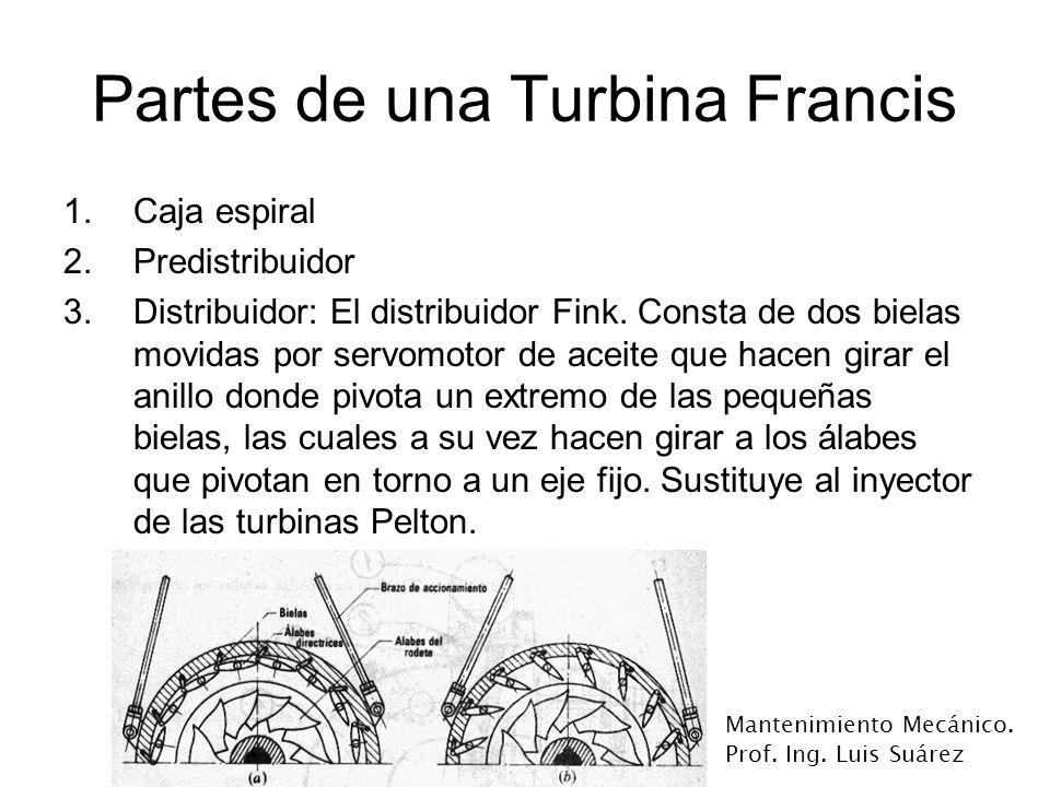 Mantenimiento Mecánico. Prof. Ing. Luis Suárez Partes de una Turbina Francis 1.Caja espiral 2.Predistribuidor 3.Distribuidor: El distribuidor Fink. Co