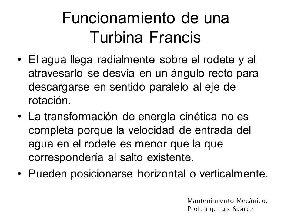 Mantenimiento Mecánico. Prof. Ing. Luis Suárez Funcionamiento de una Turbina Francis El agua llega radialmente sobre el rodete y al atravesarlo se des