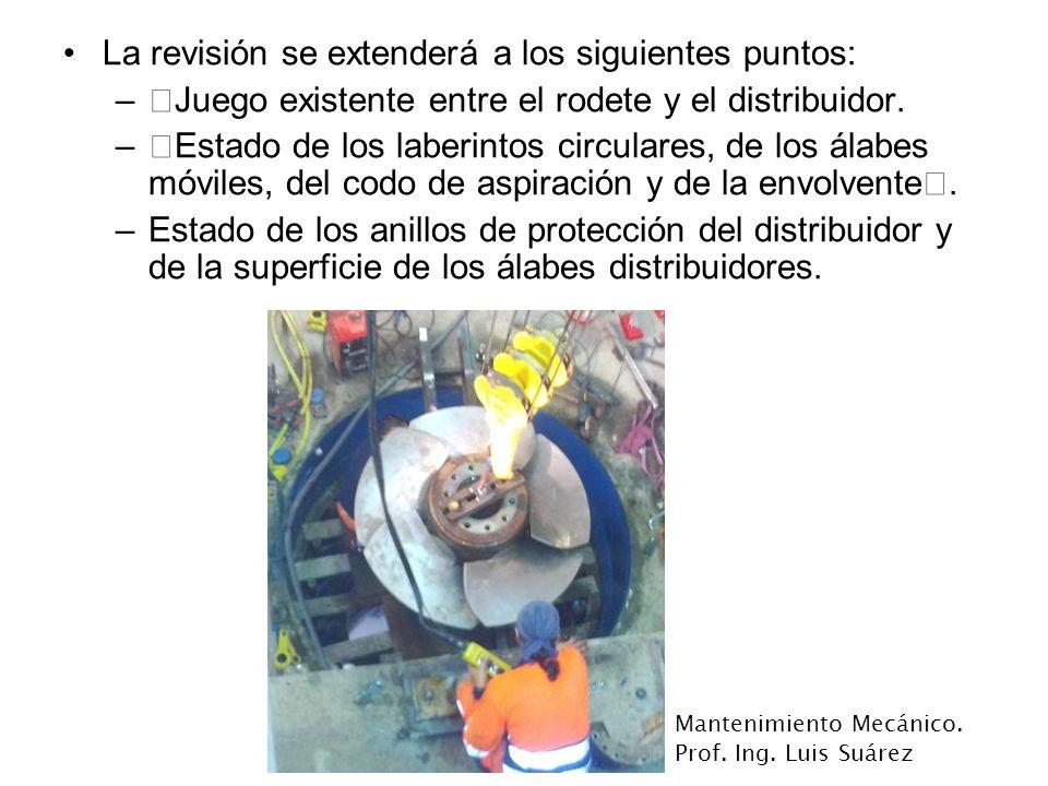 Mantenimiento Mecánico. Prof. Ing. Luis Suárez La revisión se extenderá a los siguientes puntos: –‡Juego existente entre el rodete y el distribuidor.