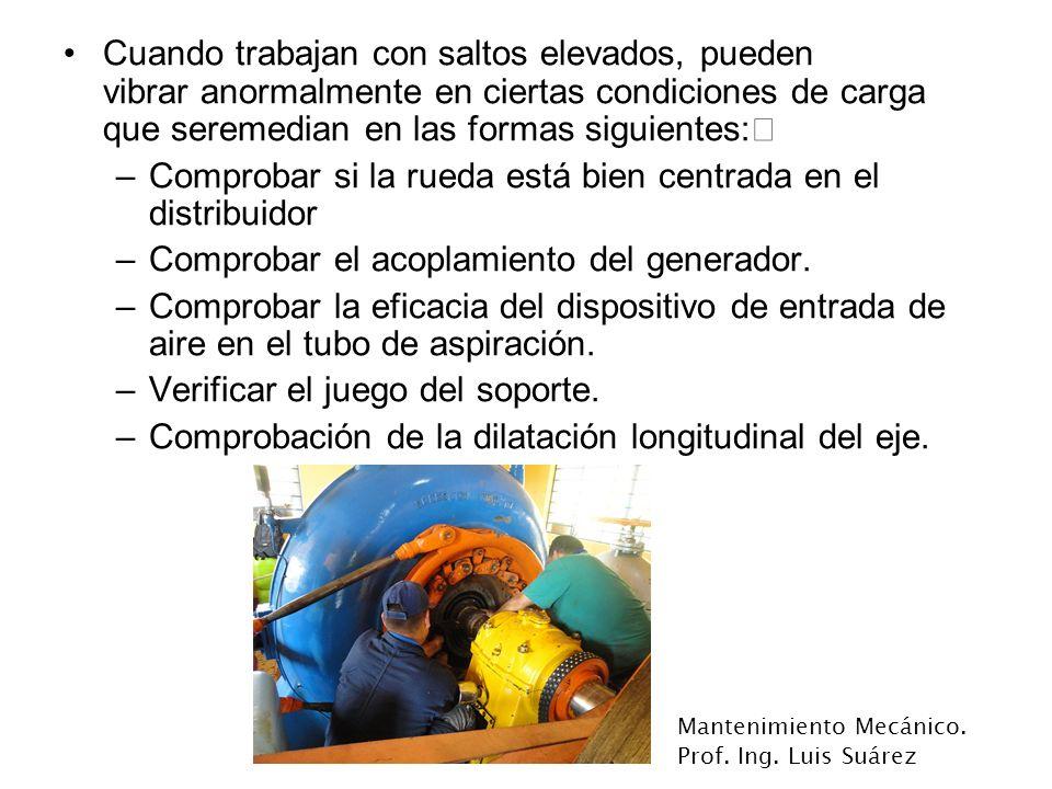 Mantenimiento Mecánico. Prof. Ing. Luis Suárez Cuando trabajan con saltos elevados, pueden vibrar anormalmente en ciertas condiciones de carga que ser