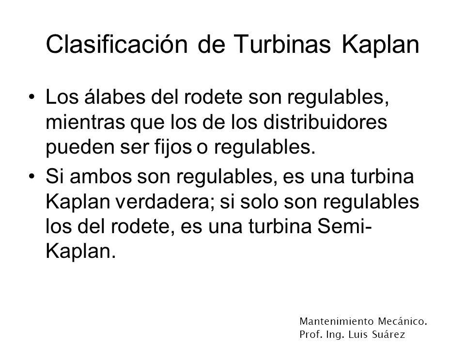 Mantenimiento Mecánico. Prof. Ing. Luis Suárez Clasificación de Turbinas Kaplan Los álabes del rodete son regulables, mientras que los de los distribu