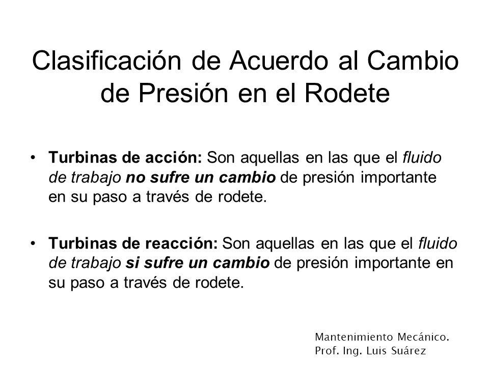 Mantenimiento Mecánico. Prof. Ing. Luis Suárez Clasificación de Acuerdo al Cambio de Presión en el Rodete Turbinas de acción: Son aquellas en las que