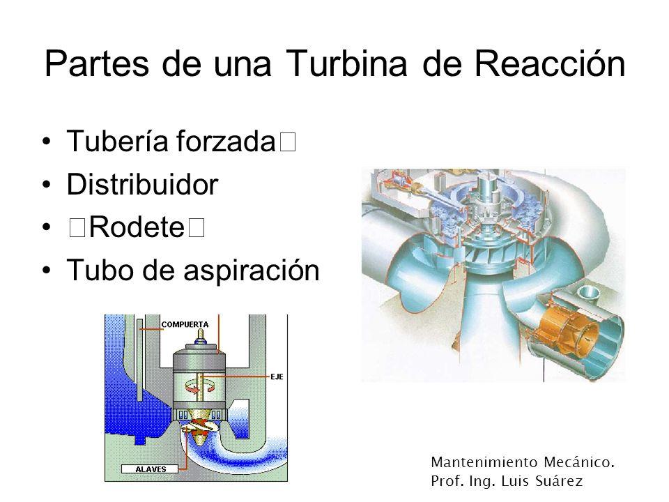 Mantenimiento Mecánico. Prof. Ing. Luis Suárez Partes de una Turbina de Reacción Tubería forzada‡ Distribuidor ‡Rodete‡ Tubo de aspiración