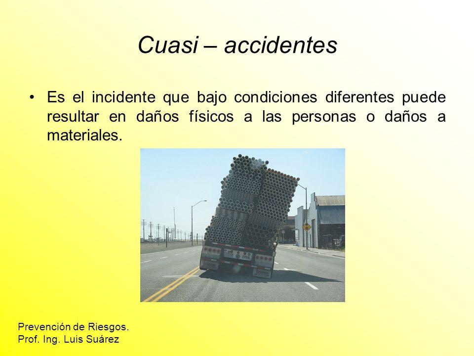 Cuasi – accidentes Es el incidente que bajo condiciones diferentes puede resultar en daños físicos a las personas o daños a materiales. Prevención de