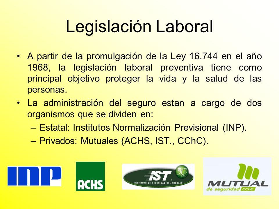 Legislación Laboral A partir de la promulgación de la Ley 16.744 en el año 1968, la legislación laboral preventiva tiene como principal objetivo prote