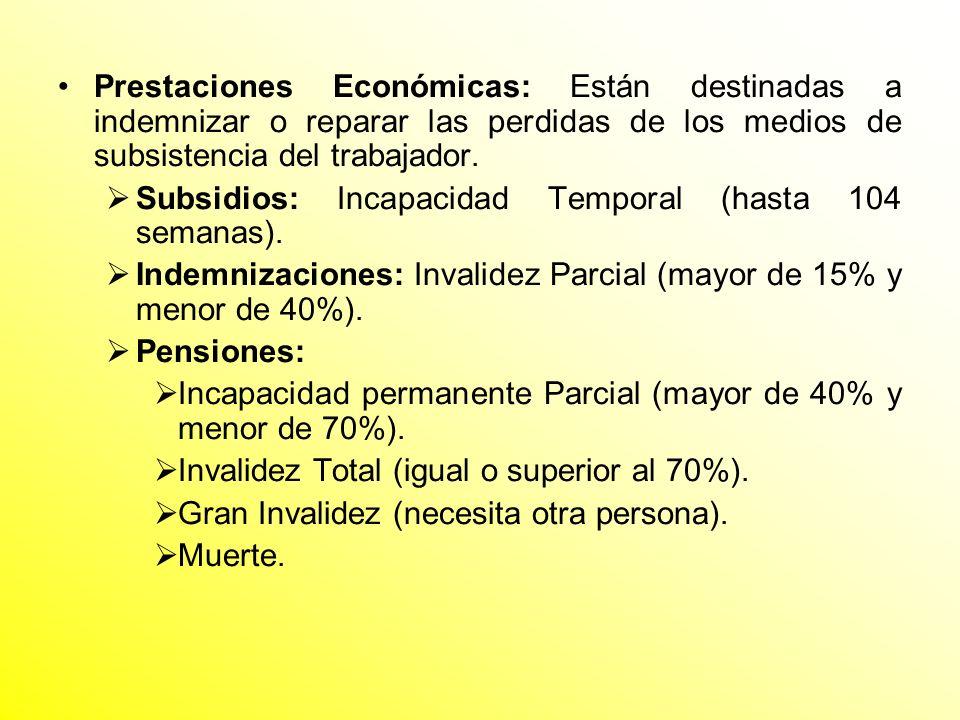 Prestaciones Económicas: Están destinadas a indemnizar o reparar las perdidas de los medios de subsistencia del trabajador. Subsidios: Incapacidad Tem