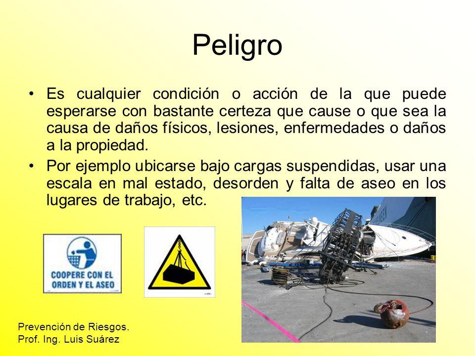 Peligro Es cualquier condición o acción de la que puede esperarse con bastante certeza que cause o que sea la causa de daños físicos, lesiones, enferm