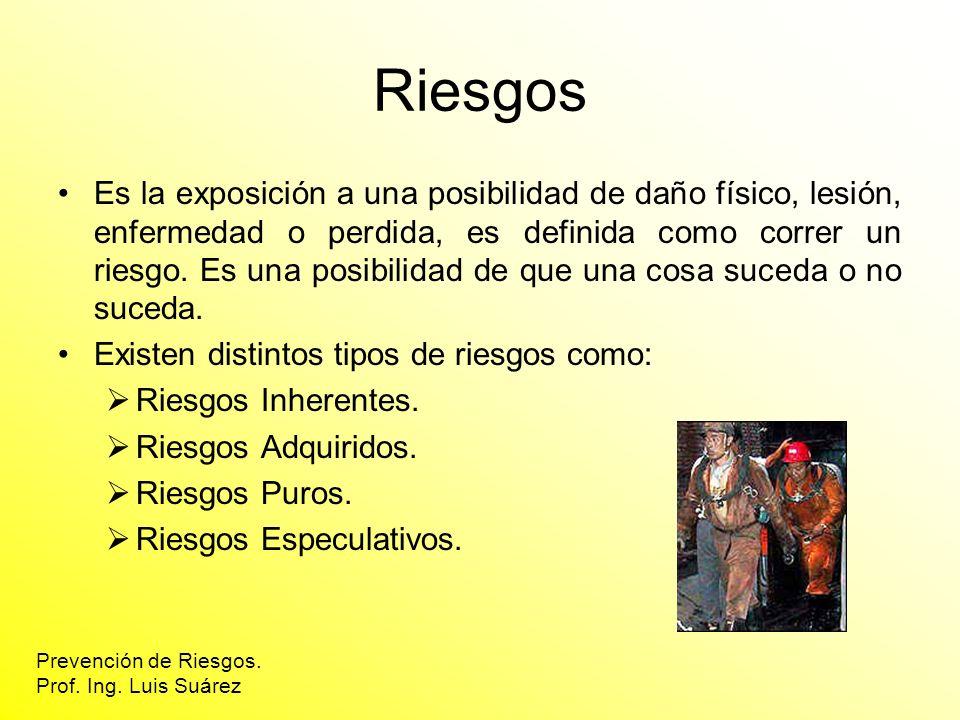 Prevención de Riesgos. Prof. Ing. Luis Suárez