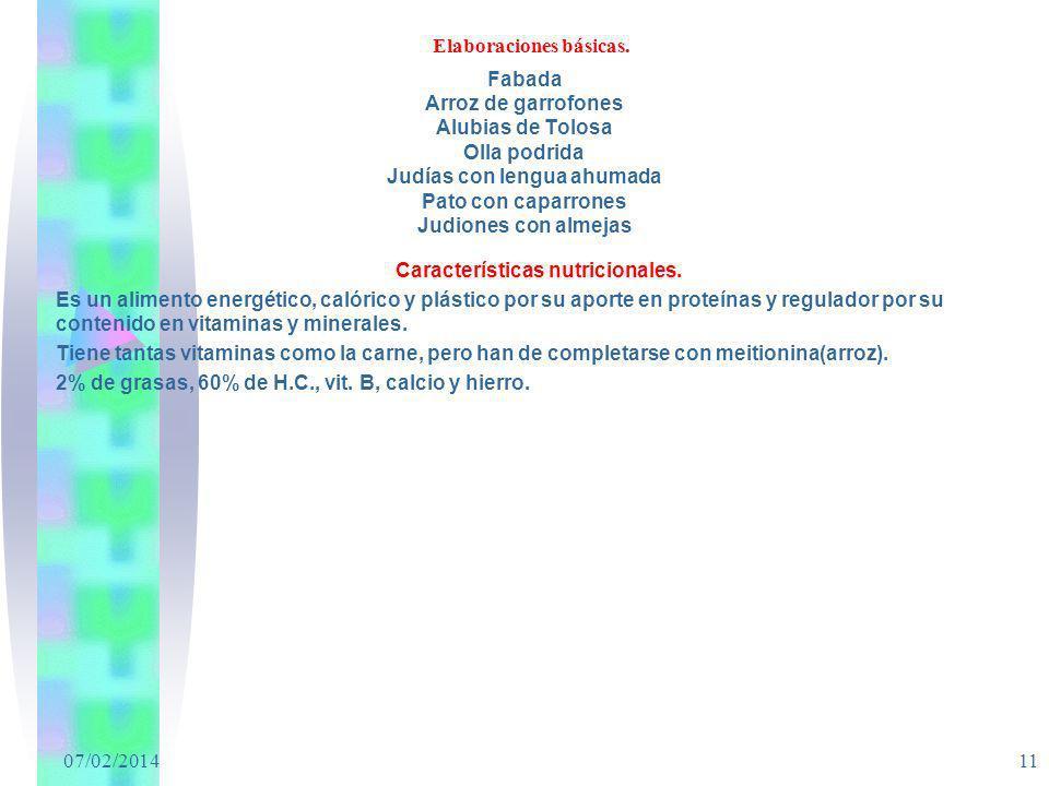 07/02/2014 11 Elaboraciones básicas. Fabada Arroz de garrofones Alubias de Tolosa Olla podrida Judías con lengua ahumada Pato con caparrones Judiones
