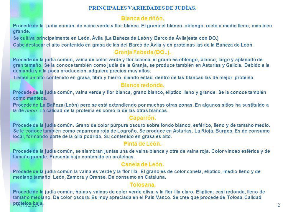 07/02/2014 2 PRINCIPALES VARIEDADES DE JUDÍAS. Blanca de riñón. Procede de la judía común, de vaina verde y flor blanca. El grano el blanco, oblongo,