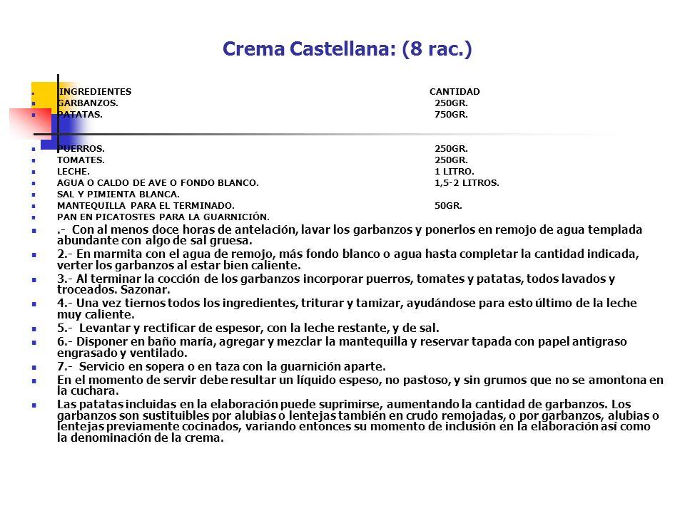 Crema Castellana: (8 rac.) INGREDIENTES CANTIDAD GARBANZOS.250GR. PATATAS.750GR. PUERROS.250GR. TOMATES.250GR. LECHE.1 LITRO. AGUA O CALDO DE AVE O FO
