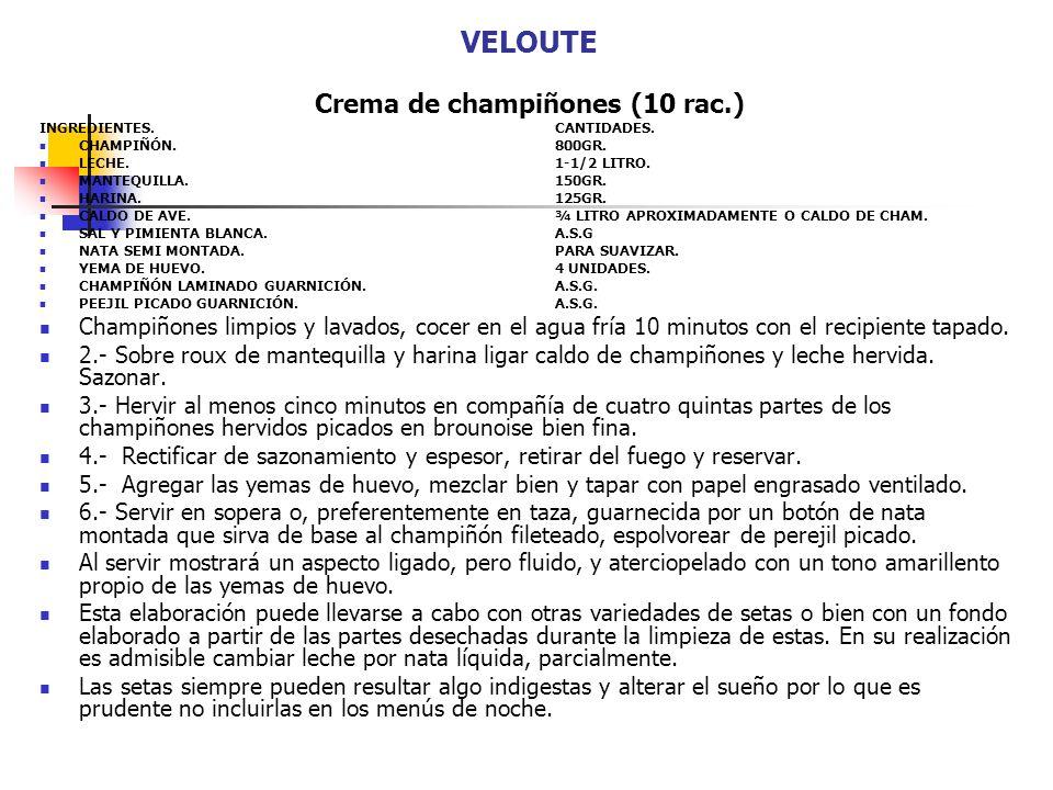 VELOUTE Crema de champiñones (10 rac.) INGREDIENTES.CANTIDADES. CHAMPIÑÓN.800GR. LECHE.1-1/2 LITRO. MANTEQUILLA.150GR. HARINA.125GR. CALDO DE AVE.¾ LI