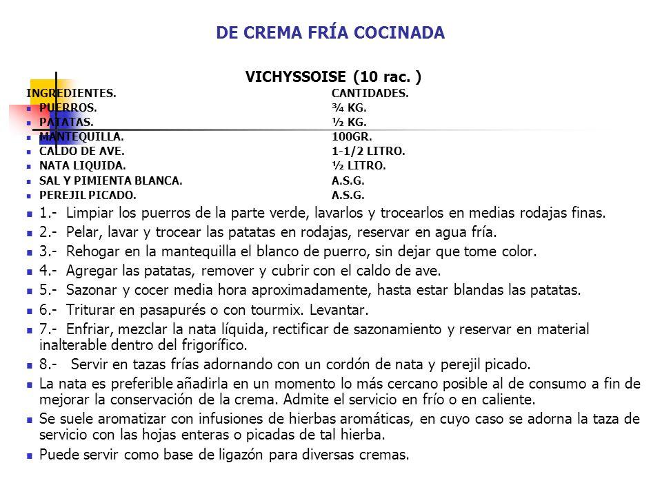 DE CREMA FRÍA COCINADA VICHYSSOISE (10 rac. ) INGREDIENTES. CANTIDADES. PUERROS.¾ KG. PATATAS.½ KG. MANTEQUILLA.100GR. CALDO DE AVE.1-1/2 LITRO. NATA