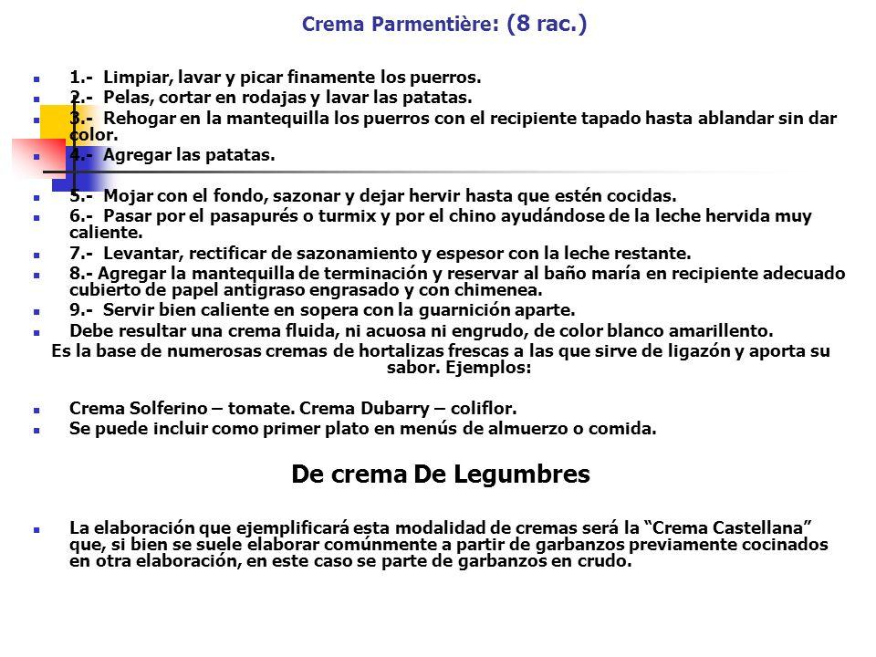 Crema Parmentière : (8 rac.) 1.- Limpiar, lavar y picar finamente los puerros. 2.- Pelas, cortar en rodajas y lavar las patatas. 3.- Rehogar en la man
