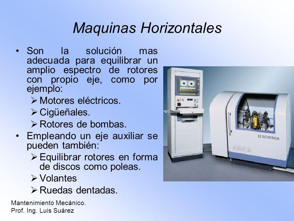 Mantenimiento Mecánico. Prof. Ing. Luis Suárez Maquinas Horizontales Son la solución mas adecuada para equilibrar un amplio espectro de rotores con pr