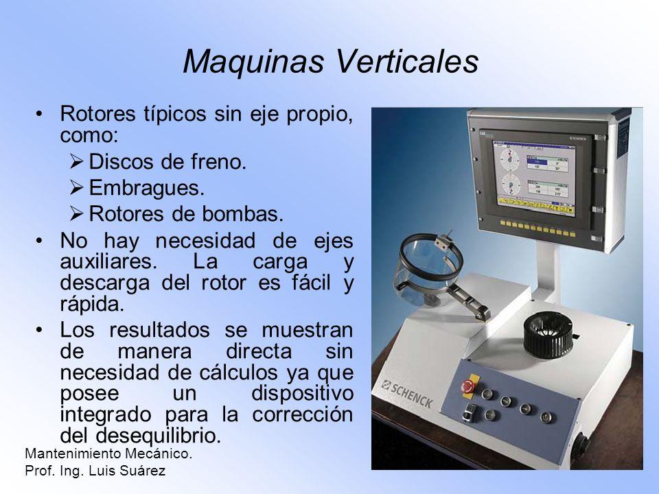 Mantenimiento Mecánico. Prof. Ing. Luis Suárez Maquinas Verticales Rotores típicos sin eje propio, como: Discos de freno. Embragues. Rotores de bombas