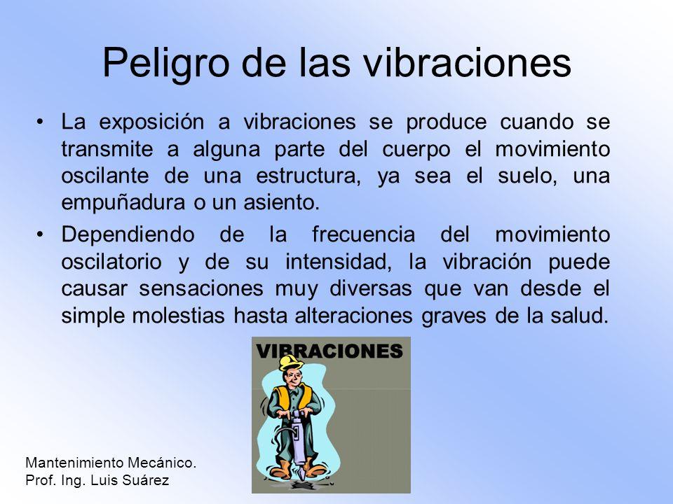 Mantenimiento Mecánico. Prof. Ing. Luis Suárez Peligro de las vibraciones La exposición a vibraciones se produce cuando se transmite a alguna parte de