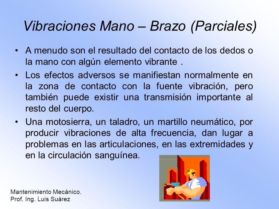 Mantenimiento Mecánico. Prof. Ing. Luis Suárez Vibraciones Mano – Brazo (Parciales) A menudo son el resultado del contacto de los dedos o la mano con