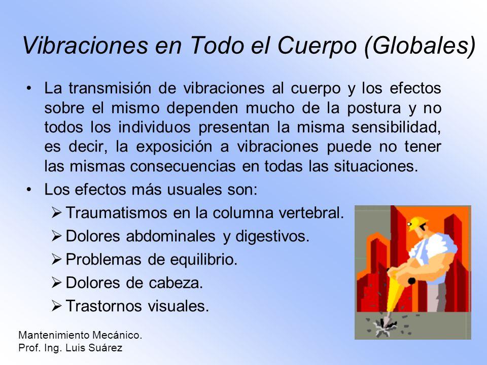 Mantenimiento Mecánico. Prof. Ing. Luis Suárez Vibraciones en Todo el Cuerpo (Globales) La transmisión de vibraciones al cuerpo y los efectos sobre el