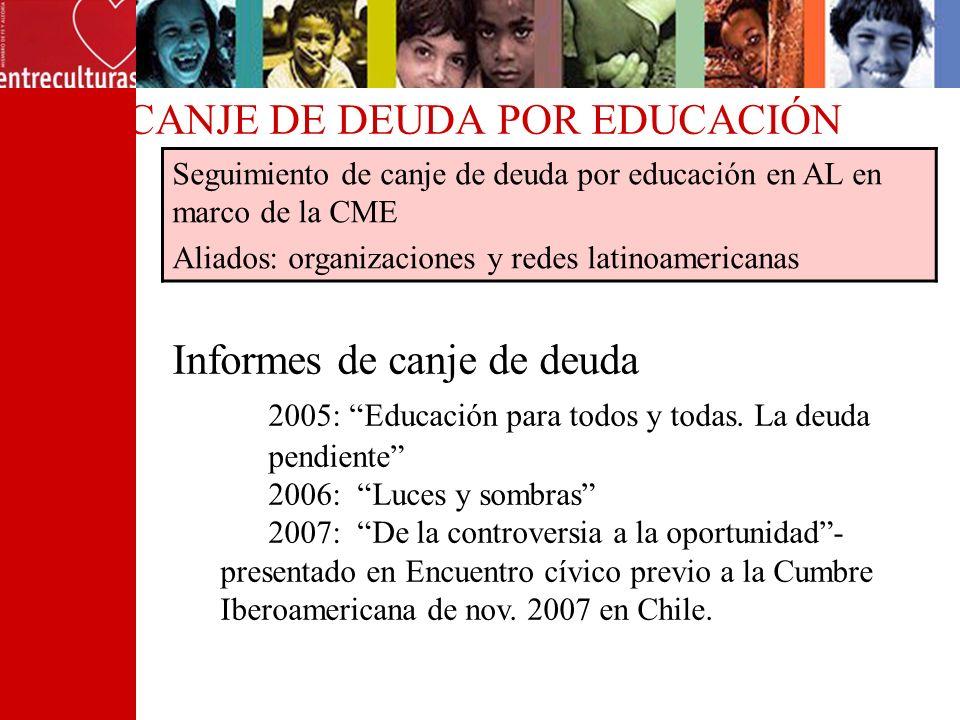 CANJE DE DEUDA POR EDUCACIÓN Seguimiento de canje de deuda por educación en AL en marco de la CME Aliados: organizaciones y redes latinoamericanas Inf