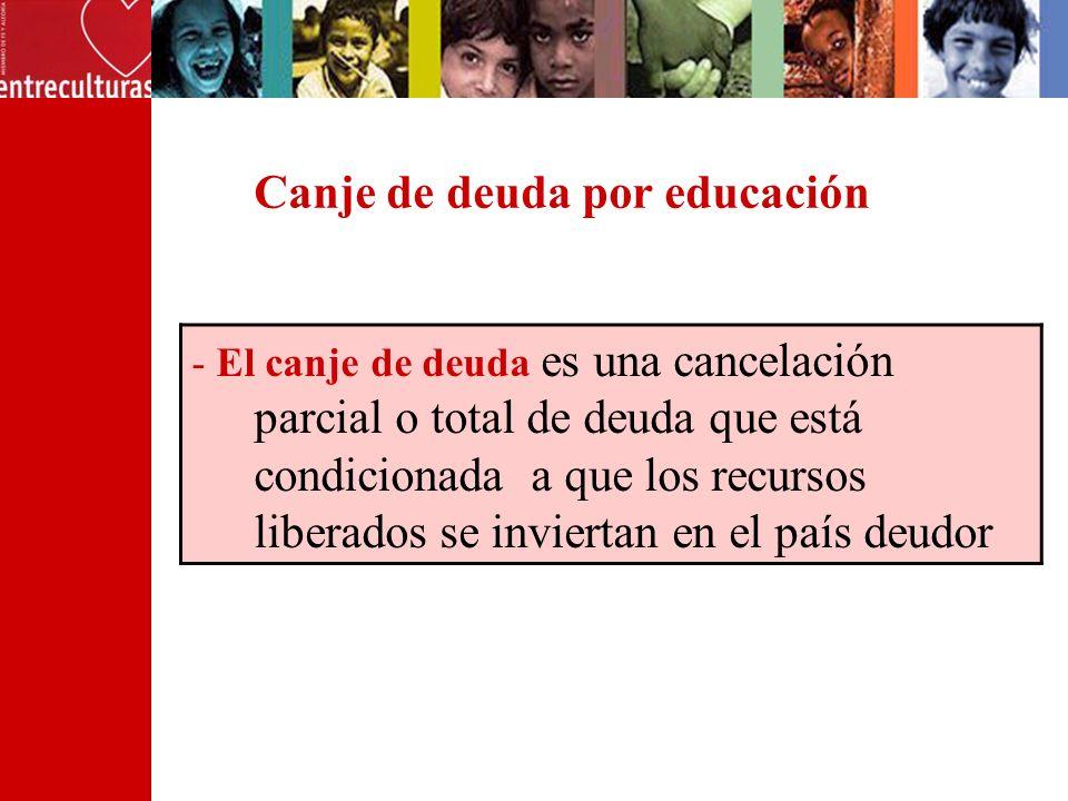 Canje de deuda por educación - El canje de deuda es una cancelación parcial o total de deuda que está condicionada a que los recursos liberados se inviertan en el país deudor