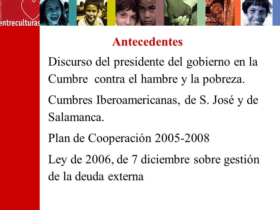 Antecedentes Discurso del presidente del gobierno en la Cumbre contra el hambre y la pobreza. Cumbres Iberoamericanas, de S. José y de Salamanca. Plan