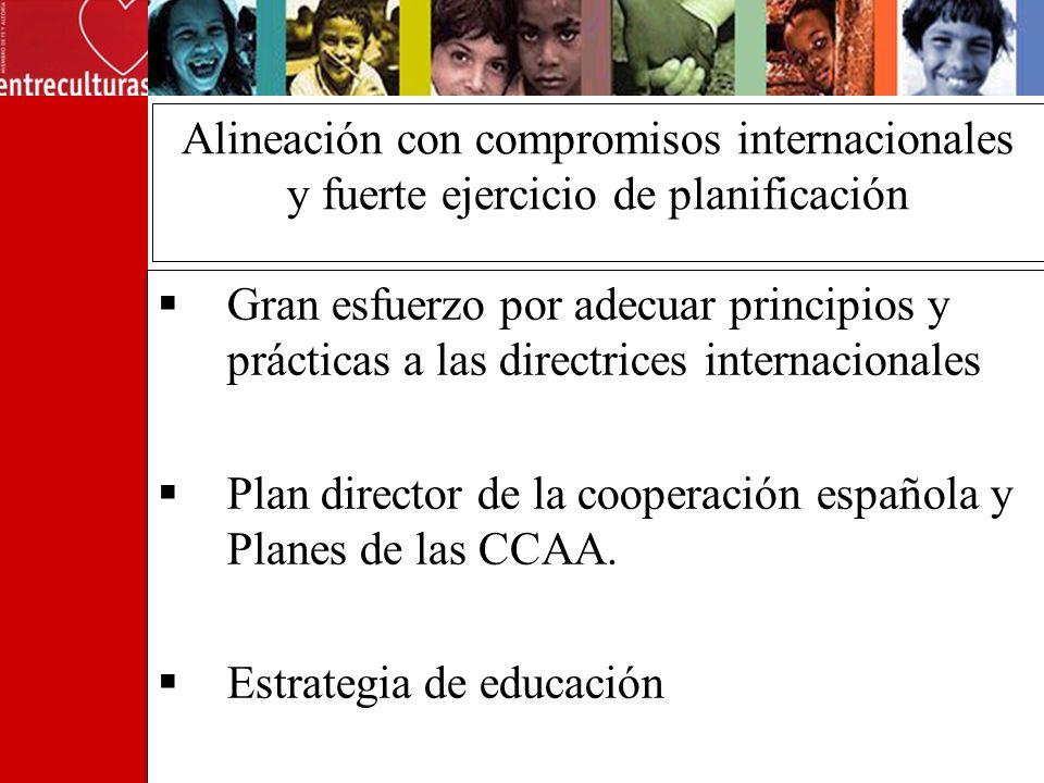 Alineación con compromisos internacionales y fuerte ejercicio de planificación Gran esfuerzo por adecuar principios y prácticas a las directrices internacionales Plan director de la cooperación española y Planes de las CCAA.