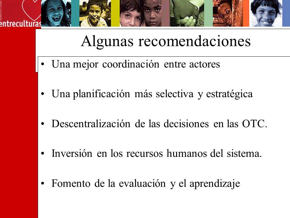 Algunas recomendaciones Una mejor coordinación entre actores Una planificación más selectiva y estratégica Descentralización de las decisiones en las