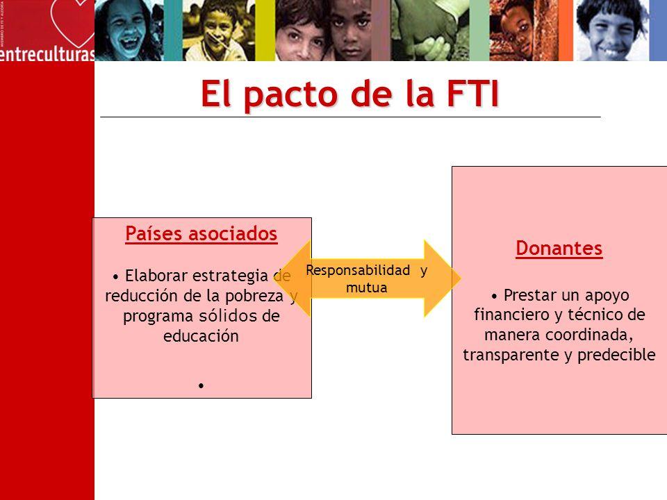 El pacto de la FTI Donantes Prestar un apoyo financiero y técnico de manera coordinada, transparente y predecible Países asociados Elaborar estrategia