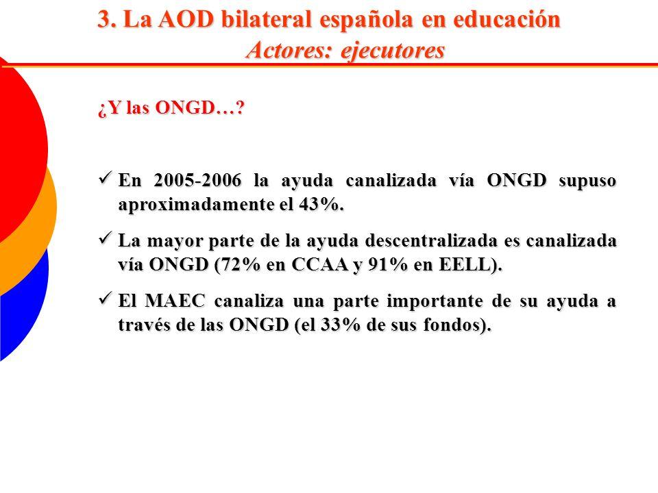 3. La AOD bilateral española en educación Actores: ejecutores ¿Y las ONGD…? En 2005-2006 la ayuda canalizada vía ONGD supuso aproximadamente el 43%. E