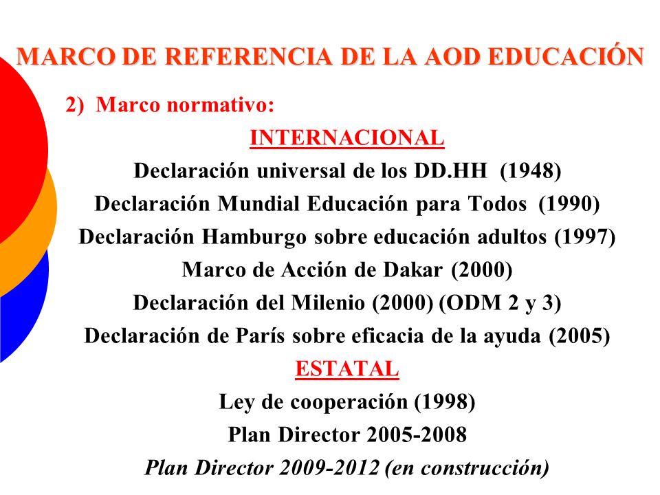 MARCO DE REFERENCIA DE LA AOD EDUCACIÓN 3) Marco instrumental: ESTRATEGIA DE EDUCACIÓN Instrumentos bilaterales: -Proyectos y convenios -Conversión y condonación de deuda -Apoyo presupuestario y enfoque sectorial -Créditos FAD -Becas y lectorados Instrumentos multilaterales: -Iniciativa de Vía Rápida (EFA/FTI)