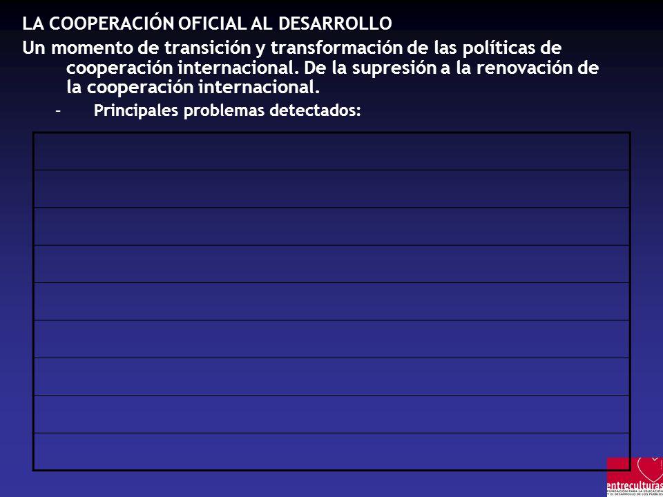 LA COOPERACIÓN OFICIAL AL DESARROLLO Un momento de transición y transformación de las políticas de cooperación internacional. De la supresión a la ren