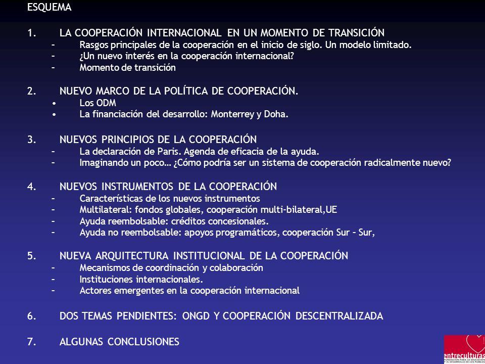 ESQUEMA 1.LA COOPERACIÓN INTERNACIONAL EN UN MOMENTO DE TRANSICIÓN –Rasgos principales de la cooperación en el inicio de siglo. Un modelo limitado. –¿