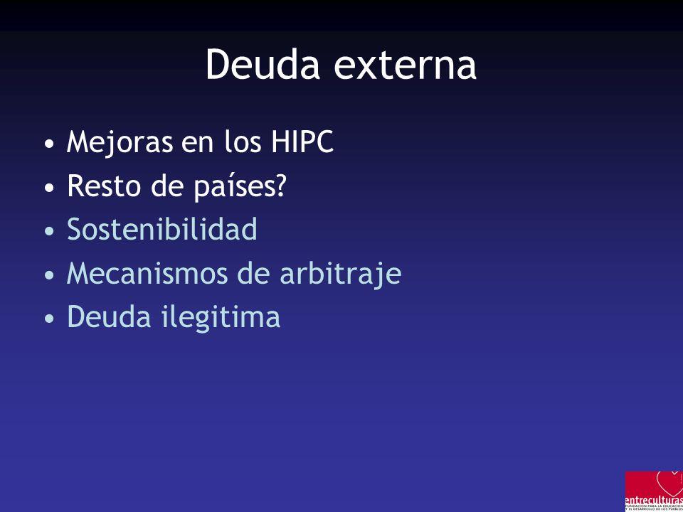 Deuda externa Mejoras en los HIPC Resto de países? Sostenibilidad Mecanismos de arbitraje Deuda ilegitima