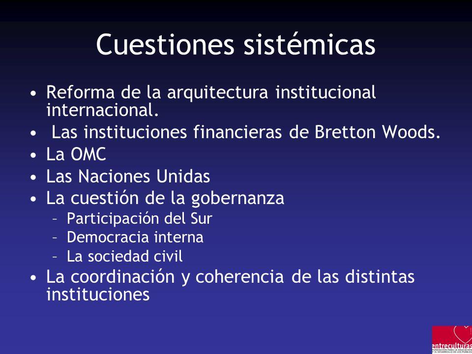Cuestiones sistémicas Reforma de la arquitectura institucional internacional. Las instituciones financieras de Bretton Woods. La OMC Las Naciones Unid