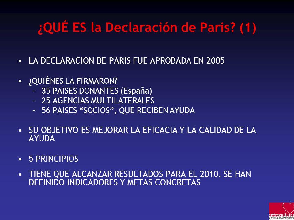 ¿QUÉ ES la Declaración de Paris? (1) LA DECLARACION DE PARIS FUE APROBADA EN 2005 ¿QUIÉNES LA FIRMARON? –35 PAISES DONANTES (España) –25 AGENCIAS MULT