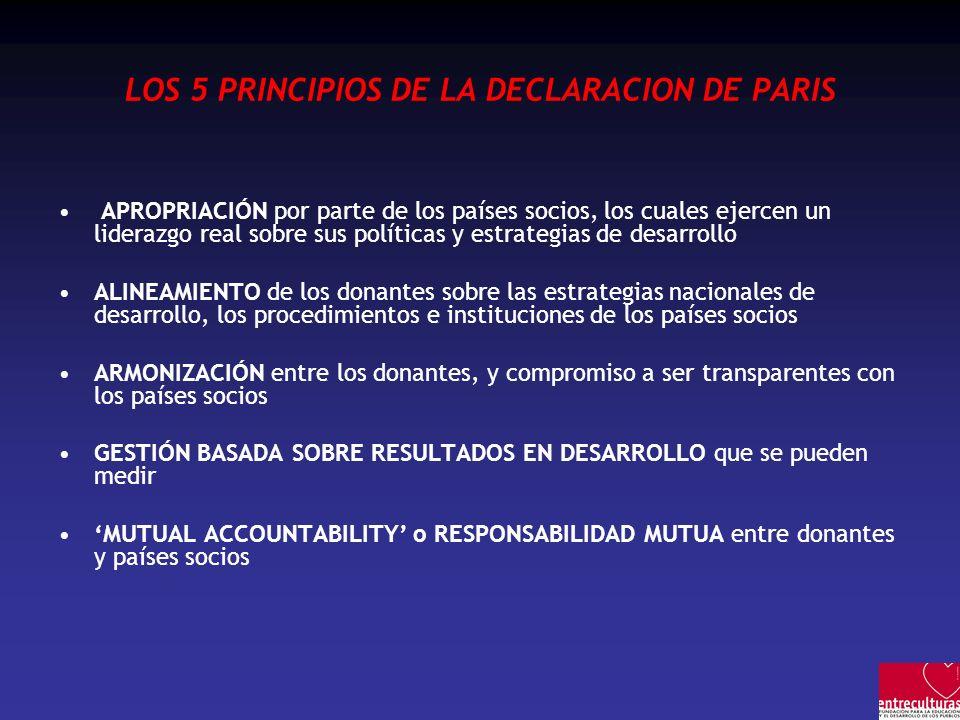 LOS 5 PRINCIPIOS DE LA DECLARACION DE PARIS APROPRIACIÓN por parte de los países socios, los cuales ejercen un liderazgo real sobre sus políticas y es