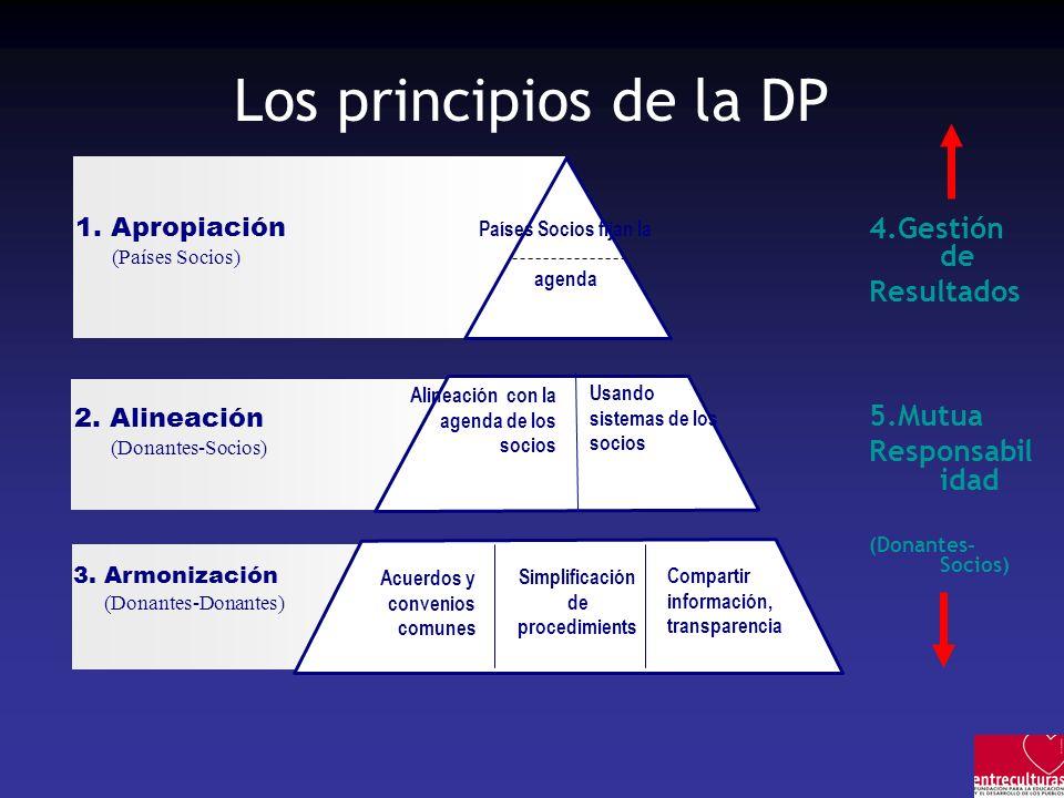 Los principios de la DP 4.Gestión de Resultados 5.Mutua Responsabil idad (Donantes- Socios) 1. Apropiación (Países Socios) Alineación con la agenda de