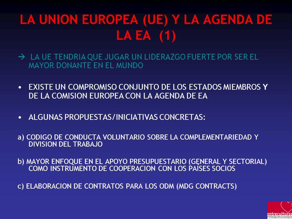 LA UNION EUROPEA (UE) Y LA AGENDA DE LA EA (1) LA UE TENDRIA QUE JUGAR UN LIDERAZGO FUERTE POR SER EL MAYOR DONANTE EN EL MUNDO EXISTE UN COMPROMISO C