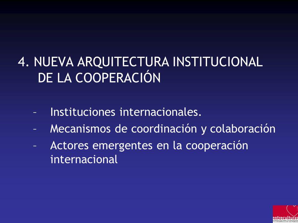 4. NUEVA ARQUITECTURA INSTITUCIONAL DE LA COOPERACIÓN –Instituciones internacionales. –Mecanismos de coordinación y colaboración –Actores emergentes e