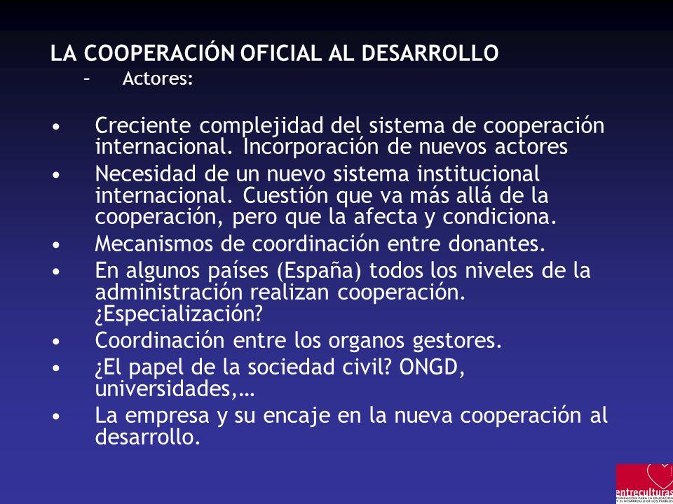 LA COOPERACIÓN OFICIAL AL DESARROLLO –Actores: Creciente complejidad del sistema de cooperación internacional. Incorporación de nuevos actores Necesid