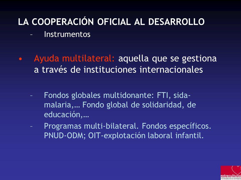 LA COOPERACIÓN OFICIAL AL DESARROLLO –Instrumentos Ayuda multilateral: aquella que se gestiona a través de instituciones internacionales –Fondos globa