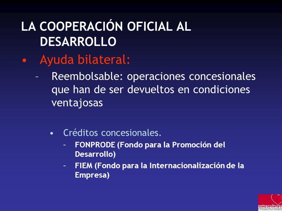 LA COOPERACIÓN OFICIAL AL DESARROLLO Ayuda bilateral: –Reembolsable: operaciones concesionales que han de ser devueltos en condiciones ventajosas Créd